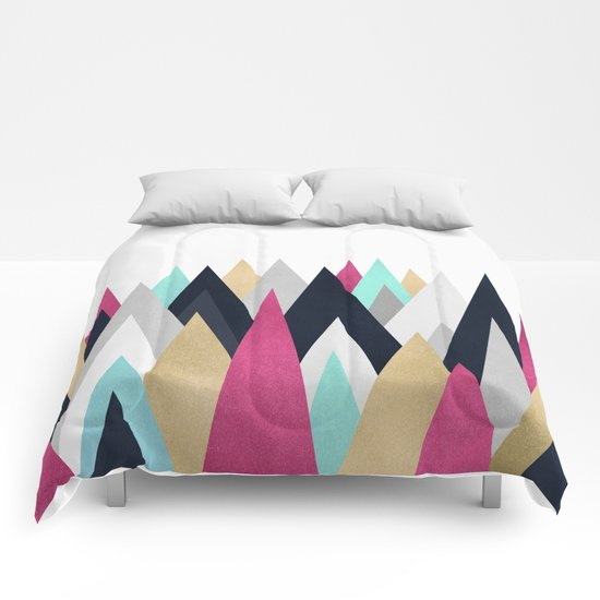 Gold, Pink and Navy Peaks Comforters