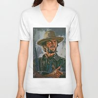 clint eastwood V-neck T-shirts featuring  Clint Eastwood by andy551