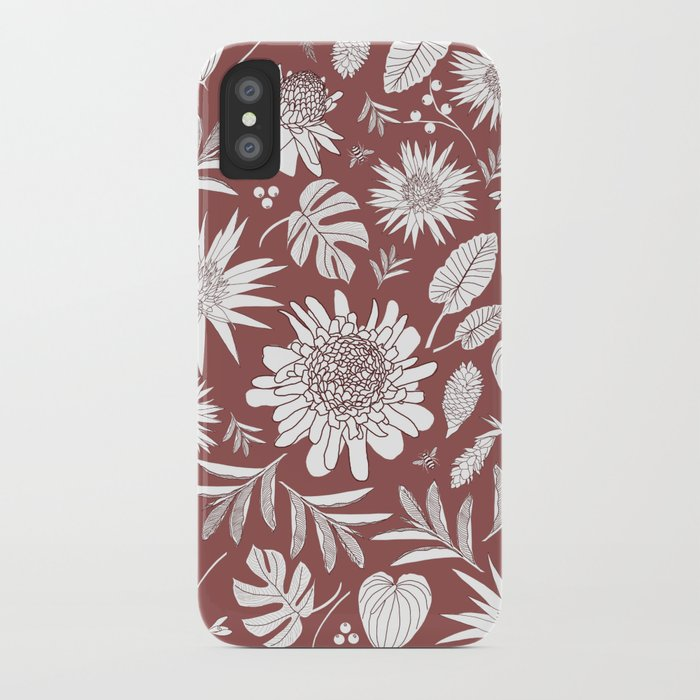 MARSALA TROPICAL FLORAL iPhone Case