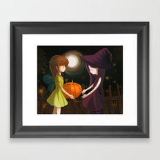 Pumpkin Girls Framed Art Print