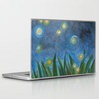 fireflies Laptop & iPad Skins featuring Fireflies by Kristen Fagan
