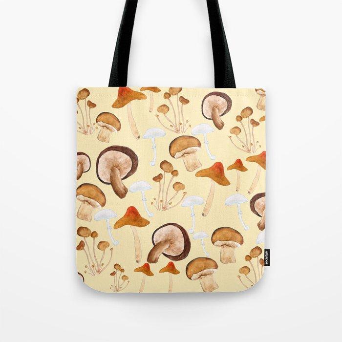 mushroom pattern watercolor painting Tote Bag
