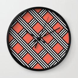 Pantone Living Coral, Black & White Diagonal Stripes Lattice Pattern Wall Clock