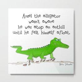 A Ansel the Aligator Metal Print
