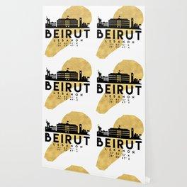 BEIRUT LEBANON SILHOUETTE SKYLINE MAP ART Wallpaper