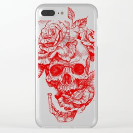 Roses and Human Skull - Red Clear iPhone Case