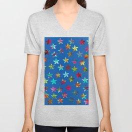 Colorful Pinwheels on Blue Background Unisex V-Neck