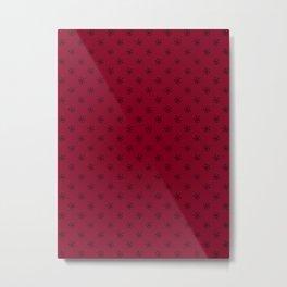 Black on Burgundy Red Snowflakes Metal Print
