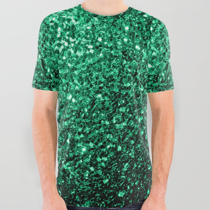 d8dacba6689 Beautiful Emerald Green glitter sparkles All Over Graphic Tee by ...
