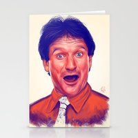 robin williams Stationery Cards featuring Young Robin Williams  by Thubakabra