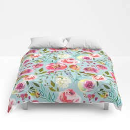 pink and blue watercolor peonies Comforters