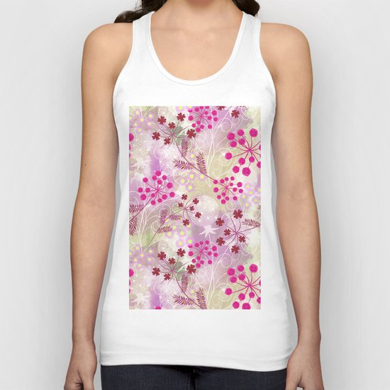 bright floral pattern ,watercolor background. Unisex Tank Top