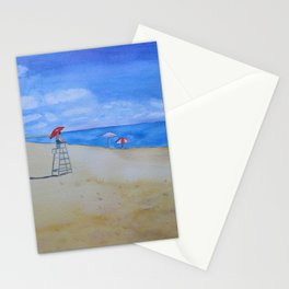 Salisbury Beach Watercolor Painting Stationery Cards