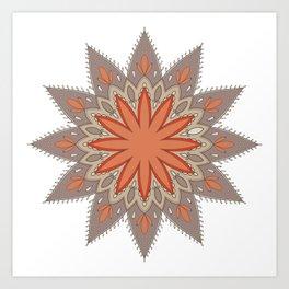Mandala ocre et taupe Art Print