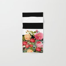 Black and White Stripe with Floral Hand & Bath Towel