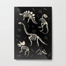 Dinosaur Fossils on Black Metal Print