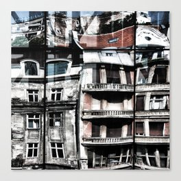 Reflections of Buildings on Buildings in Belgrade Canvas Print