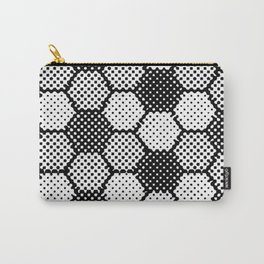 Black and White Pixel Magic- Black White Grey Pattern Carry-All Pouch