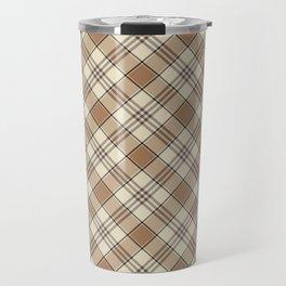 Brown and Tan Plaid Pattern Travel Mug