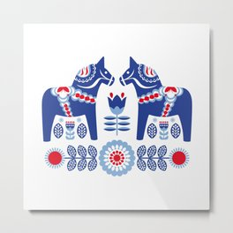Blue Swedish Dalahäst Metal Print