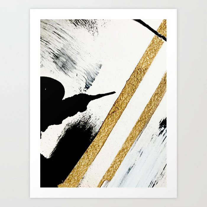 Armor [8]: a minimal abstract piece in black white and gold by Alyssa Hamilton Art Kunstdrucke