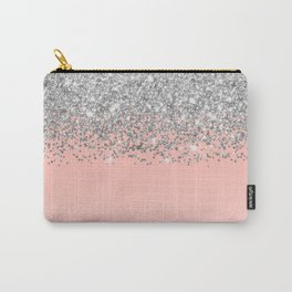 Girly Chic Silver Confetti Pink Gradient Ombre Carry-All Pouch