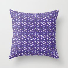 Unicorns and Rainbows - purple -tiny Throw Pillow