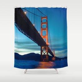 Awe Inspiring Golden Gate Bridge San Francisco Bay California At Romantic Evening Red Ultra HD Shower Curtain
