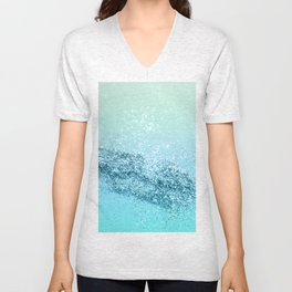 Seafoam Aqua Ocean MERMAID Girls Glitter #3 #shiny #decor #art #society6 Unisex V-Neck
