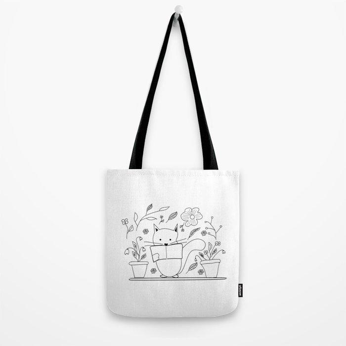Cat between the flowers Tote Bag