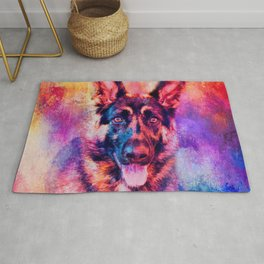 Jazzy German Shepherd Colorful Dog Art by Jai Johnson Rug