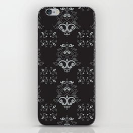 Black and Silver Damask iPhone Skin
