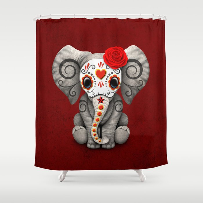 Deep Red Day Of The Dead Sugar Skull Baby Elephant Shower Curtain