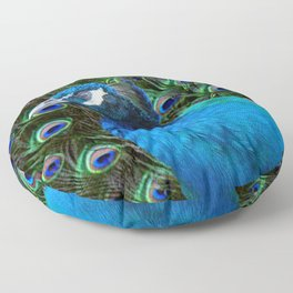 Blue Peacock and Feathers Floor Pillow