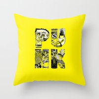 punk Throw Pillows featuring PUNK by René Barth