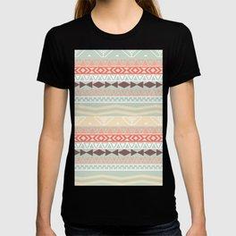 Aztec In Fall | Retro Pink Brown Teal Geo Pattern T-shirt