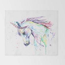 Colorful Unicorn Watercolor Painting - Kenzie's Unicorn Throw Blanket
