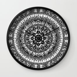 Black and White Mandala Pattern Wall Clock