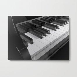 Keyboard of a black piano - 3D rendering Metal Print