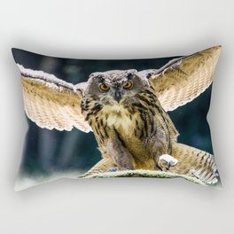 Eagle-owl landing on a stump Rectangular Pillow