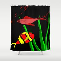 scuba Shower Curtains featuring Scuba by Happy Fish Gallery
