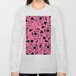 Neon pink black geometric retro 80's motif Long Sleeve T-shirt