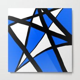 China Blue Geometric Triangle Abstract Inverse Metal Print