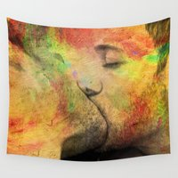 nudes Wall Tapestries featuring gay kiss by mark ashkenazi