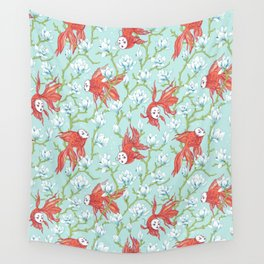 Goldfish, Mask and Magnolia Pattern Wall Tapestry
