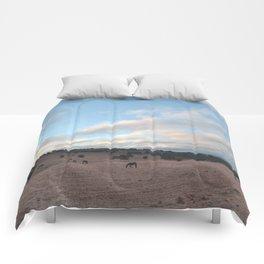 Landscape & Horses III Comforters