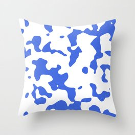Large Spots - White and Royal Blue Throw Pillow