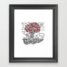 Zentangle Tree of Love - Illustration of Hearts and Love Framed Art Print