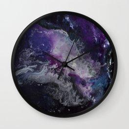 Exploration Through Nebula Clouds Wall Clock