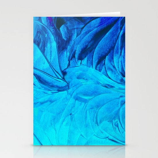 PETAL PINWHEELS, Revisited -  Indigo Royal Blue Turquoise Floral Pattern Swirls Ocean Water Flowers Stationery Cards